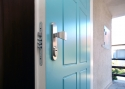 ADLO - exterior Termo door TEDUO, profile design F155, door surface RAL 6034 turqoise colour